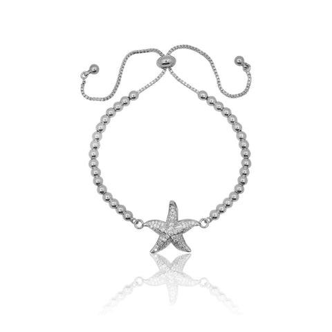Crystal - Adjustable Bracelet - Silver