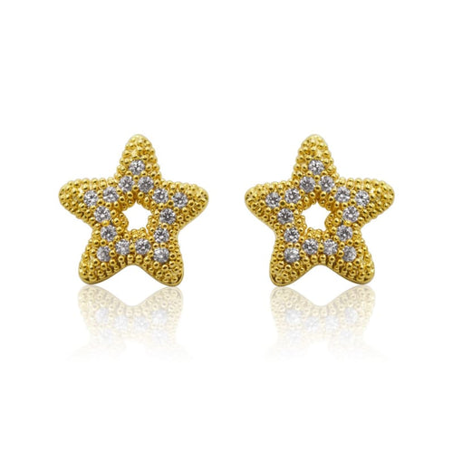 Crystal Starfish Studs - Gold earrings
