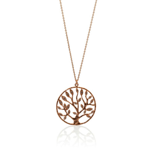 Crystal Tree Of Life Necklace - Rose Gold Necklace