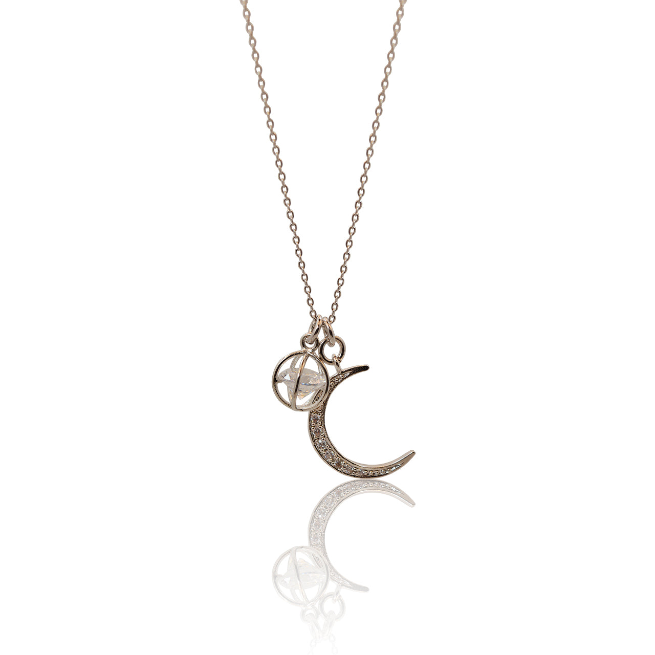 Crystal Moon Ball Necklace