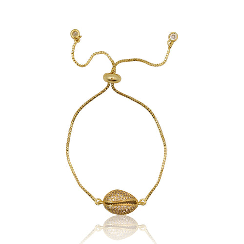 Cowrie Shell Crystal Adjustable Bracelet - Gold