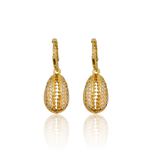 Cowrie Shell Crystal Earrings - Gold