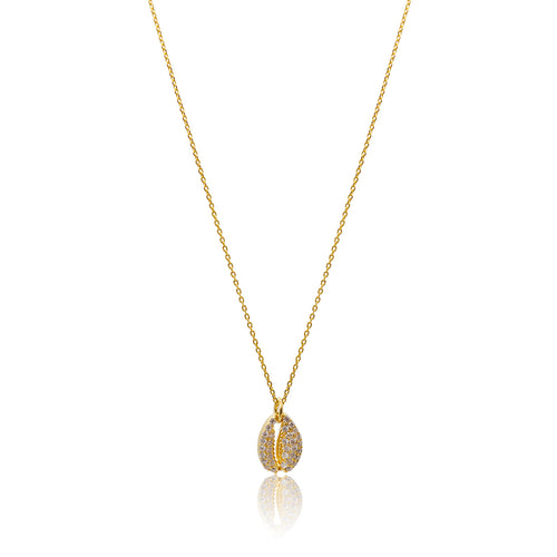 Cowrie Shell Crystal Necklace - Gold