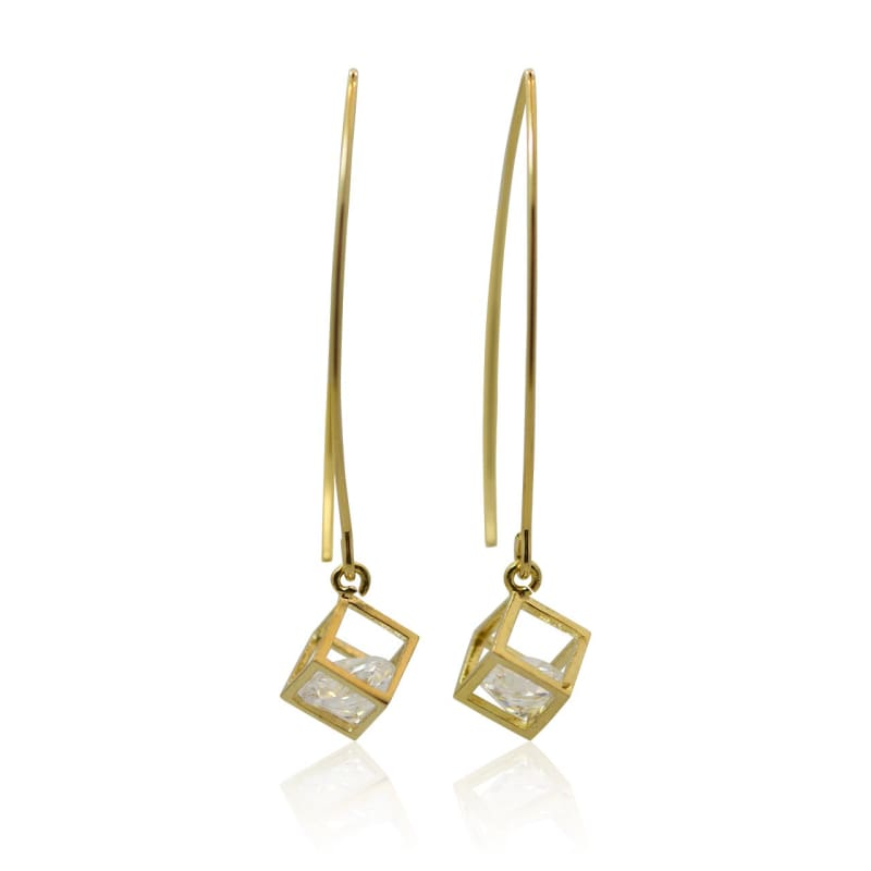 Cube Crystal Earrings - Gold Earrings