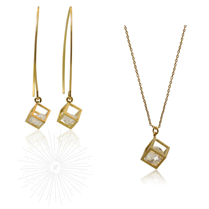 Cube Crystal Earrings & Necklace Combo - Gold earrings