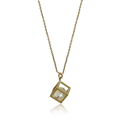 Cube Crystal Necklace - Gold Necklace