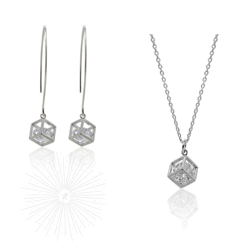 Cube Crystal Earrings & Necklace Combo