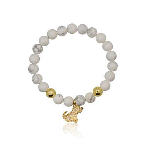 Kitty Cat Stretch Bracelet - Howlite