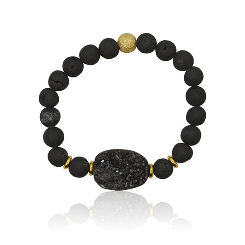 Druzy Black Agate Adjustable Bracelet - Gold bracelet