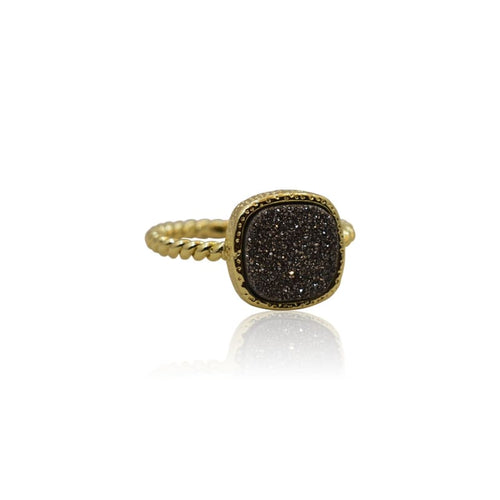 Druzy Black Ring - Gold 6 Ring