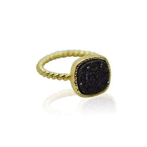 Druzy Black Ring - Gold ring