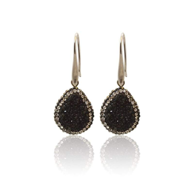 Druzy Drop Black Earrings Earrings