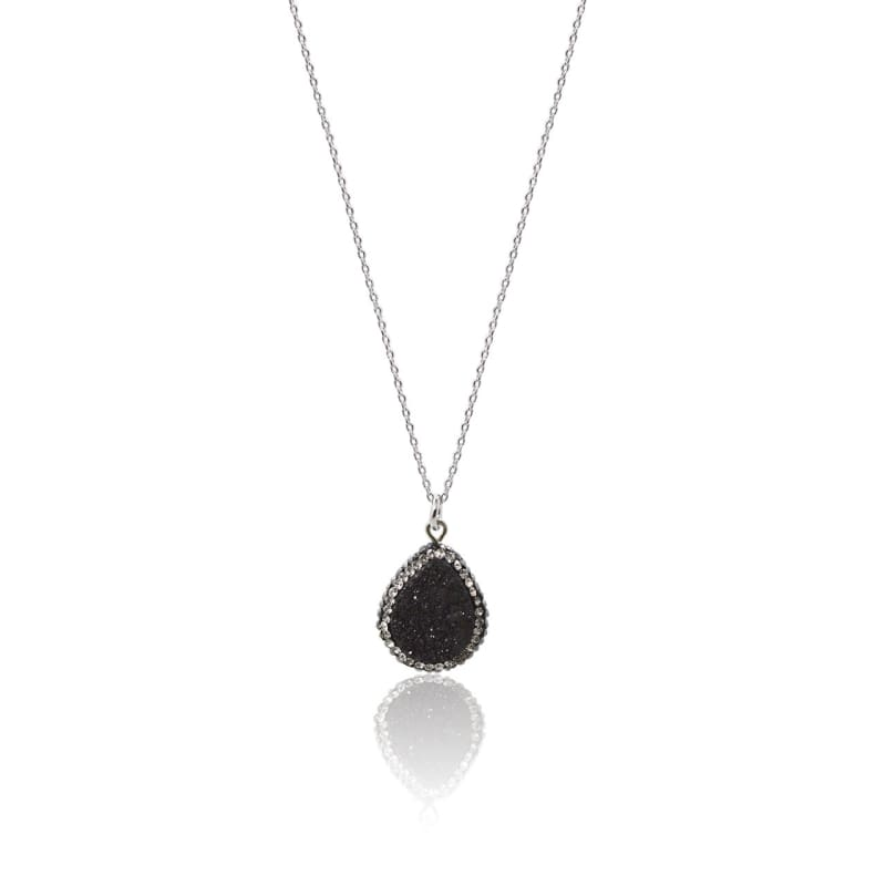 Druzy Drop Black Necklace 18 Necklace
