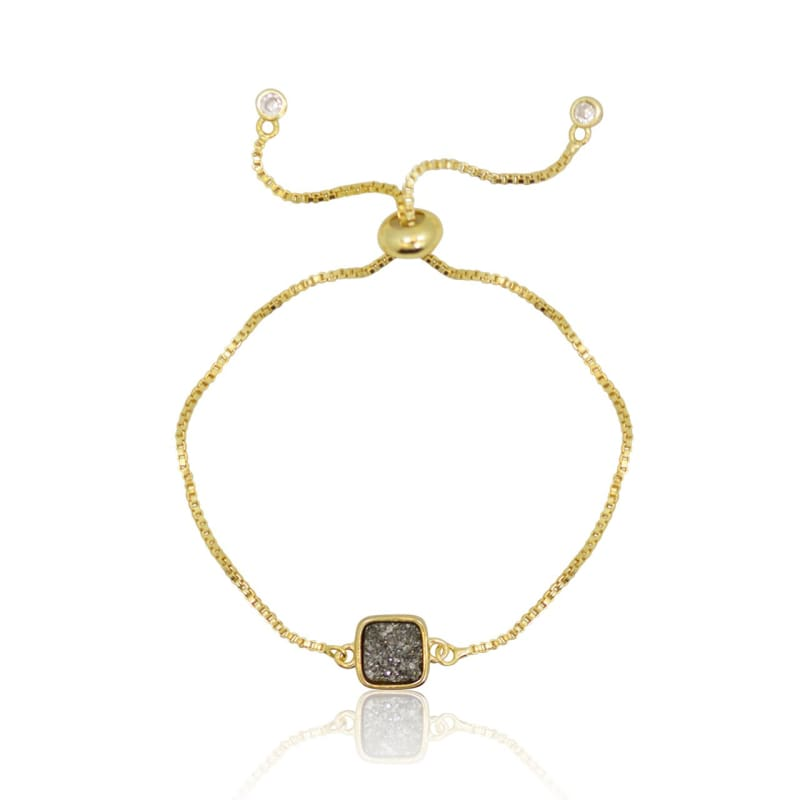 Druzy Grey Agate Adjustable Bracelet - Gold Bracelet