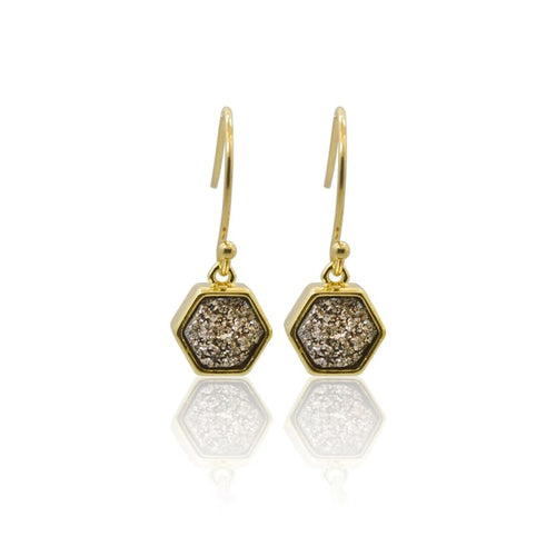 Druzy Grey Earrings - Gold Hexagon Earrings