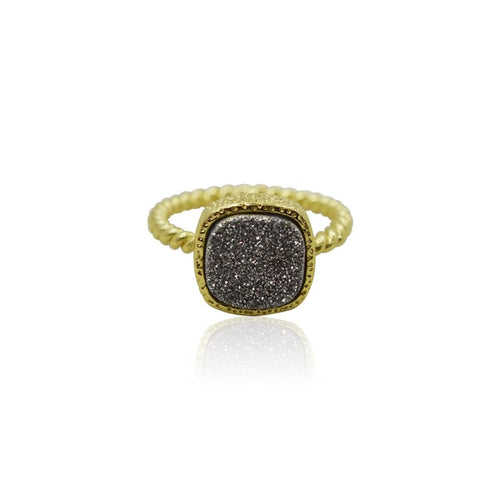 Druzy Grey Ring - Gold ring