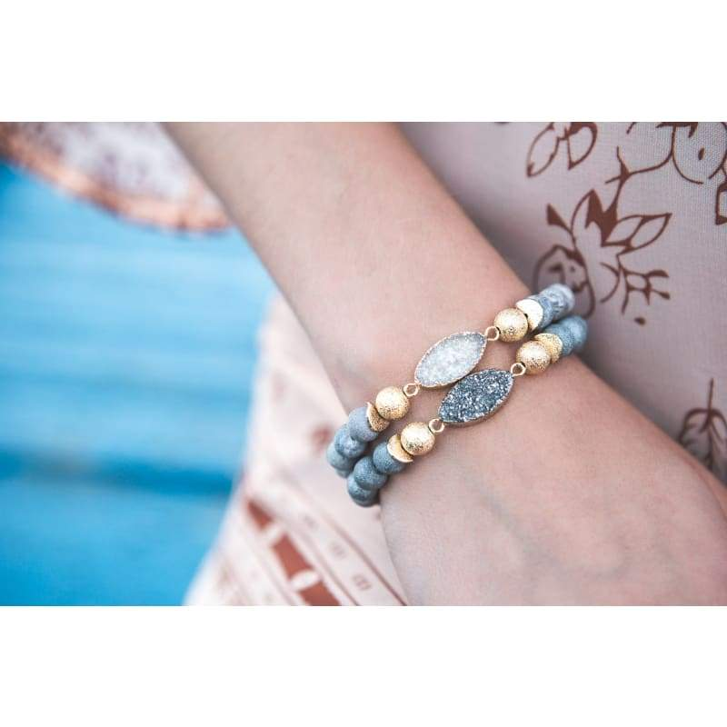 Druzy Grey Stretch Bracelet Bracelet