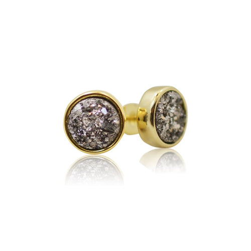 Druzy Grey Studs - Gold earrings