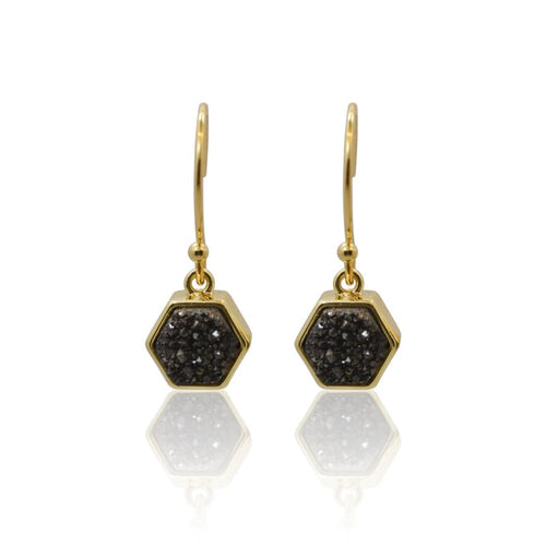 Druzy Hex Black Earrings - Gold earrings