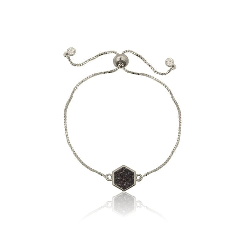 Druzy Hexagon Black Adjustable Bracelet - Silver bracelet