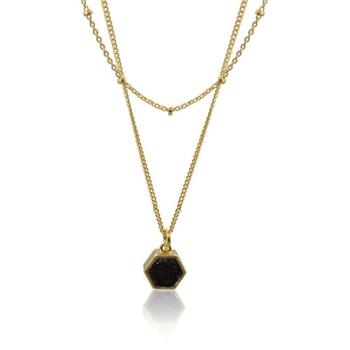 Druzy Hexagon Black Double Strand - Gold Necklace earrings