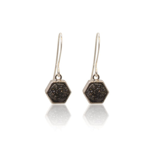 Druzy Hexagon Black Earrings - Silver earrings