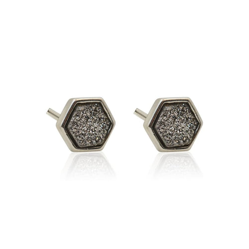 Druzy Hexagon Black Studs - Silver earrings