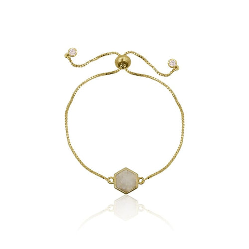 Druzy Hexagon White Agate Adjustable Bracelet - Gold bracelet