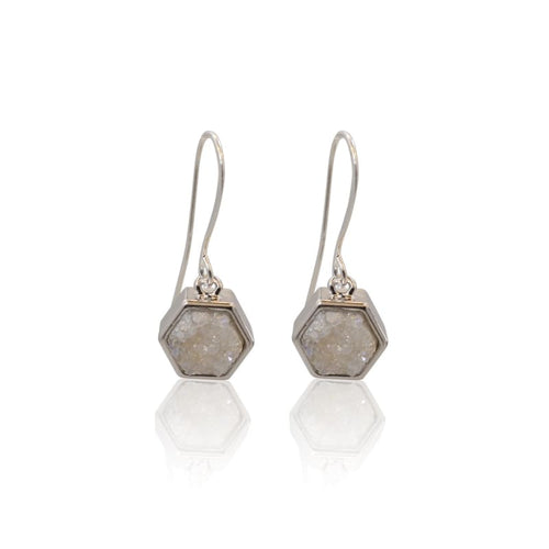 Druzy Hexagon White Earrings - Silver earrings