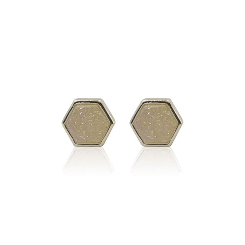 Druzy Hexagon White Studs - Silver earrings
