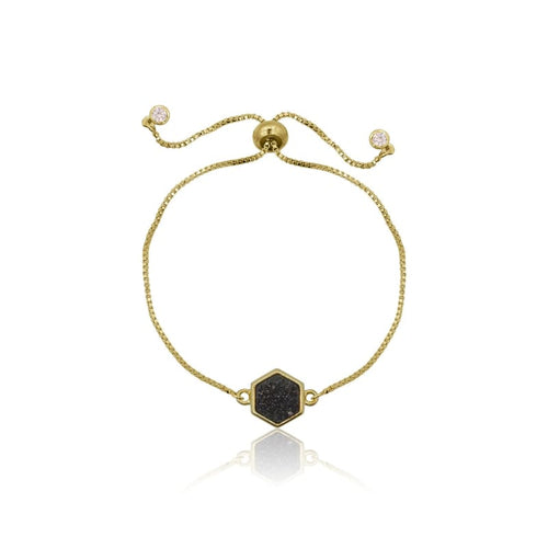 Druzy Hexagone Black Adjustable Bracelet - Gold bracelet