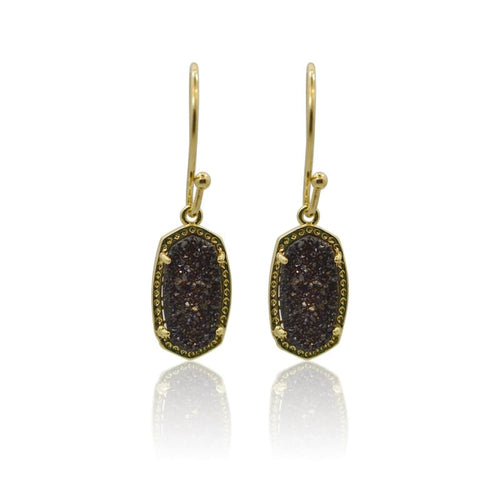 Druzy Oval Black Earrings - Gold earrings