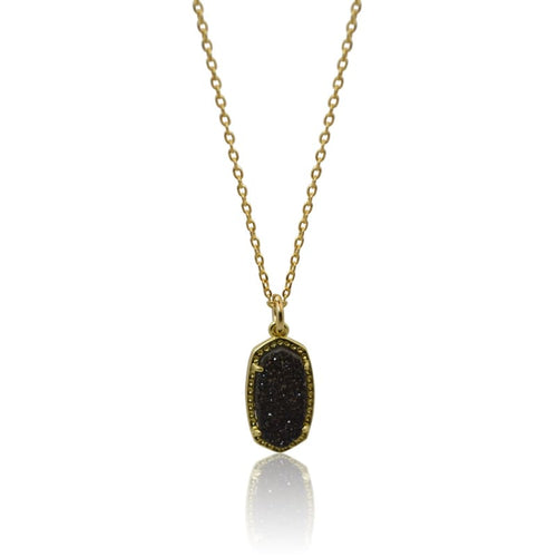 Druzy Oval Black - Gold Necklace 16 necklace