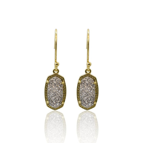 Druzy Oval Grey Earrings - Gold earrings