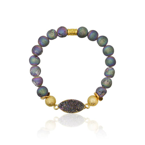 Druzy Hexagon Grey Agate Adjustable Bracelet - Gold