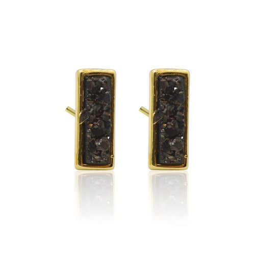 Druzy Rectangle Black Studs - Gold earrings