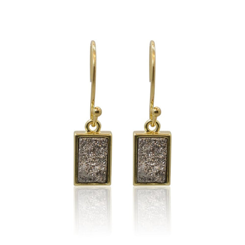 Druzy Rectangle Grey Earrings - Gold earrings