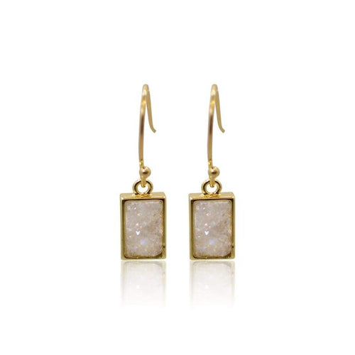 Druzy White Earrings - Gold Earrings