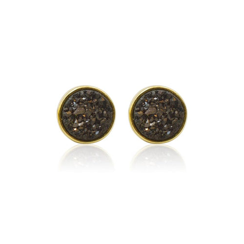 Druzy Round Black Studs - Gold earrings