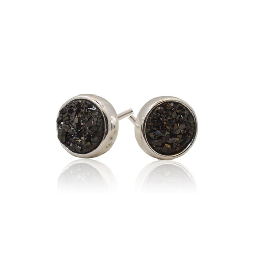 Druzy Round Black Studs - Silver earrings