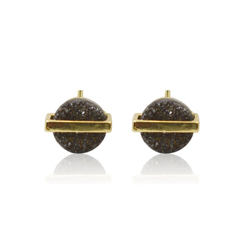Druzy Round w/ Line Black Studs - Gold earrings