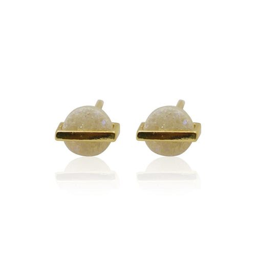Druzy Round w/ Line White Studs - Gold earrings