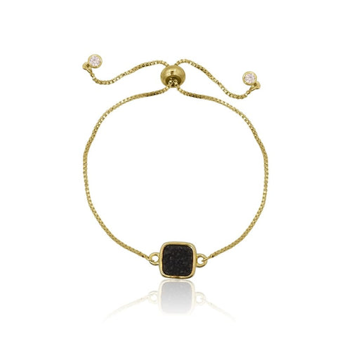 Druzy Square Black Adjustable Bracelet - Gold bracelet