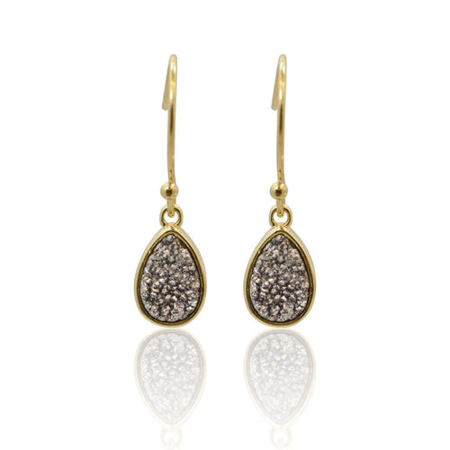 Druzy Teardrop Grey Drops - Gold earrings