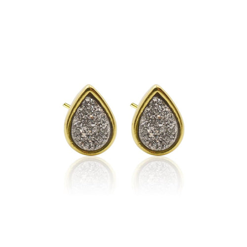 Druzy Teardrop Grey Studs - Gold earrings