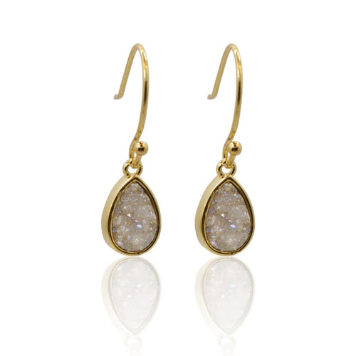 Druzy Teardrop White Drops - Gold earrings