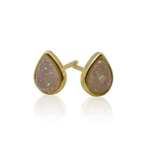 Druzy Teardrop White Studs - Gold earrings