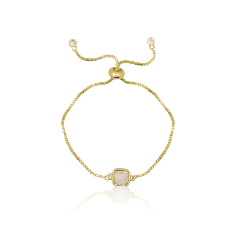 Druzy White Adjustable Bracelet - Gold Bracelet