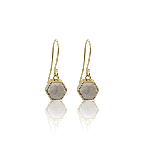 Druzy White Earrings - Gold Hexagon Earrings