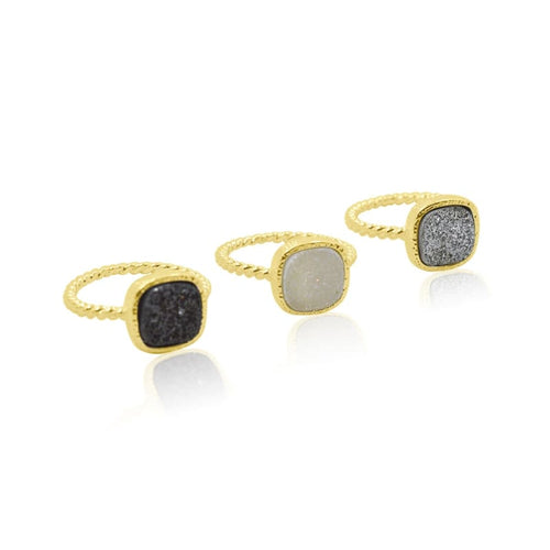 Druzy White Ring - Gold ring